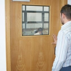 Switchable office door vision panel - switched on clear