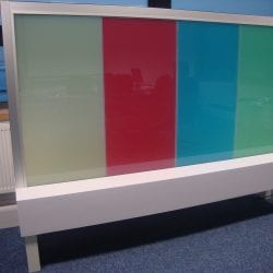 Switchable coloured smart glass - switched off frosted
