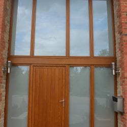 Switchable smart glass double glazed entrance - switched off frosted