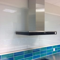 Switchable smart glass kitchen window close up - switched off frosted