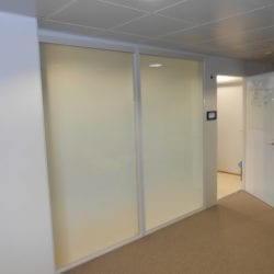 Switchable smart glass office reception - switched off frosted