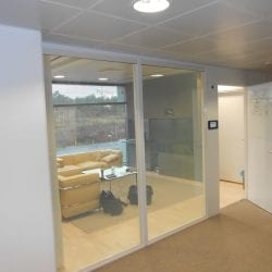 Switchable smart glass office reception - switched on clear