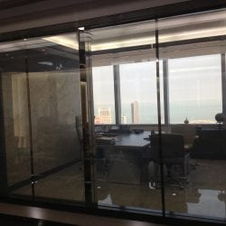 Switchable smart glass office - switched on clear