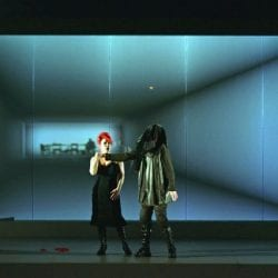 Switchable smart glass theatre stage opera - switched off frosted and projected