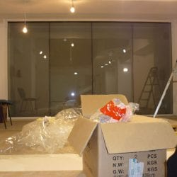 Switchable smart glass partition installation