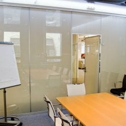 Switchable smart glass meeting room - switched off frosted