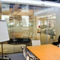 Switchable smart glass meeting room - switched on clear