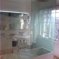 Switchable smart glass bathroom screen - switched on clear