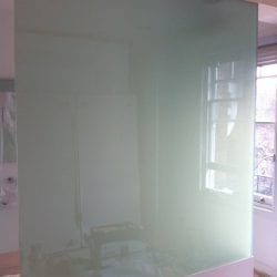 Switchable smart glass bathroom screen - switched off frosted