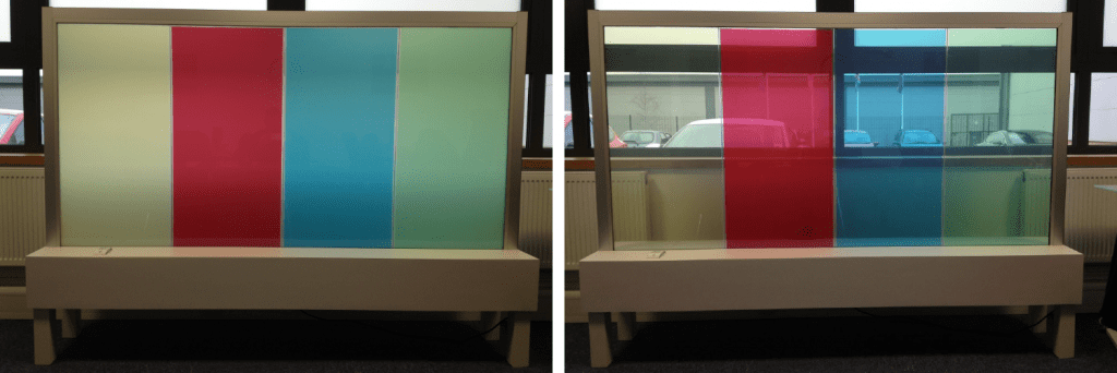 Coloured Switchable Glass can be used to bring switchable technology to environments with a range of themes.