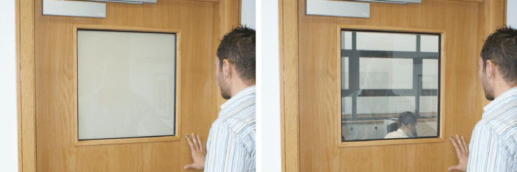 People can use the Switchable Vision Panel to check if the room is occupied without disrupting the occupants