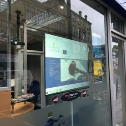 soundpod surface speaker in window display