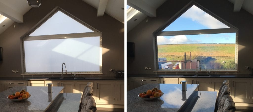 Switchable smart glass exterior windows