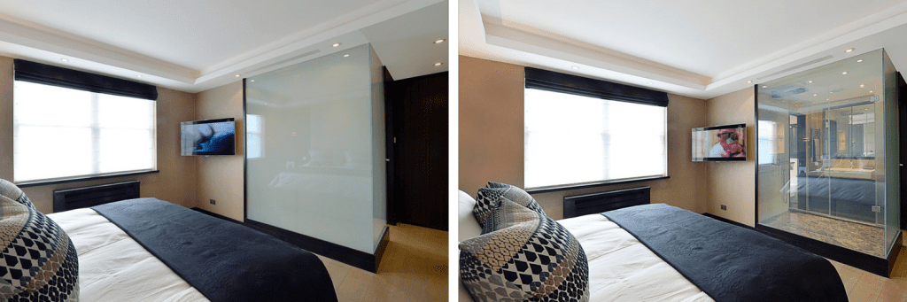 switchable smart glass hotel shower