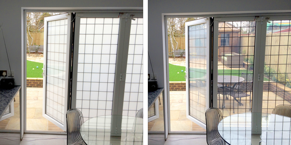 Switchable glass bi-fold doors in the home