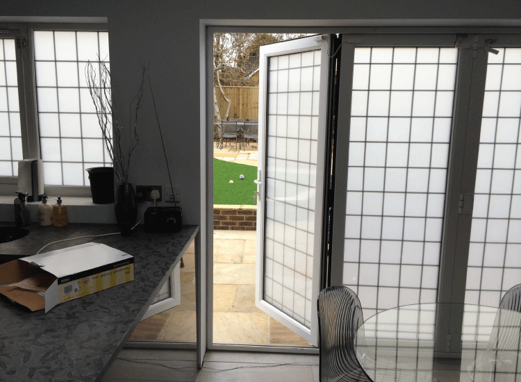 Switchable Smart Glass Bi-Fold Doors switched to off