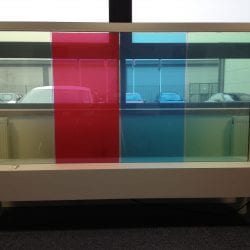 Switchable coloured smart glass - switched on clear