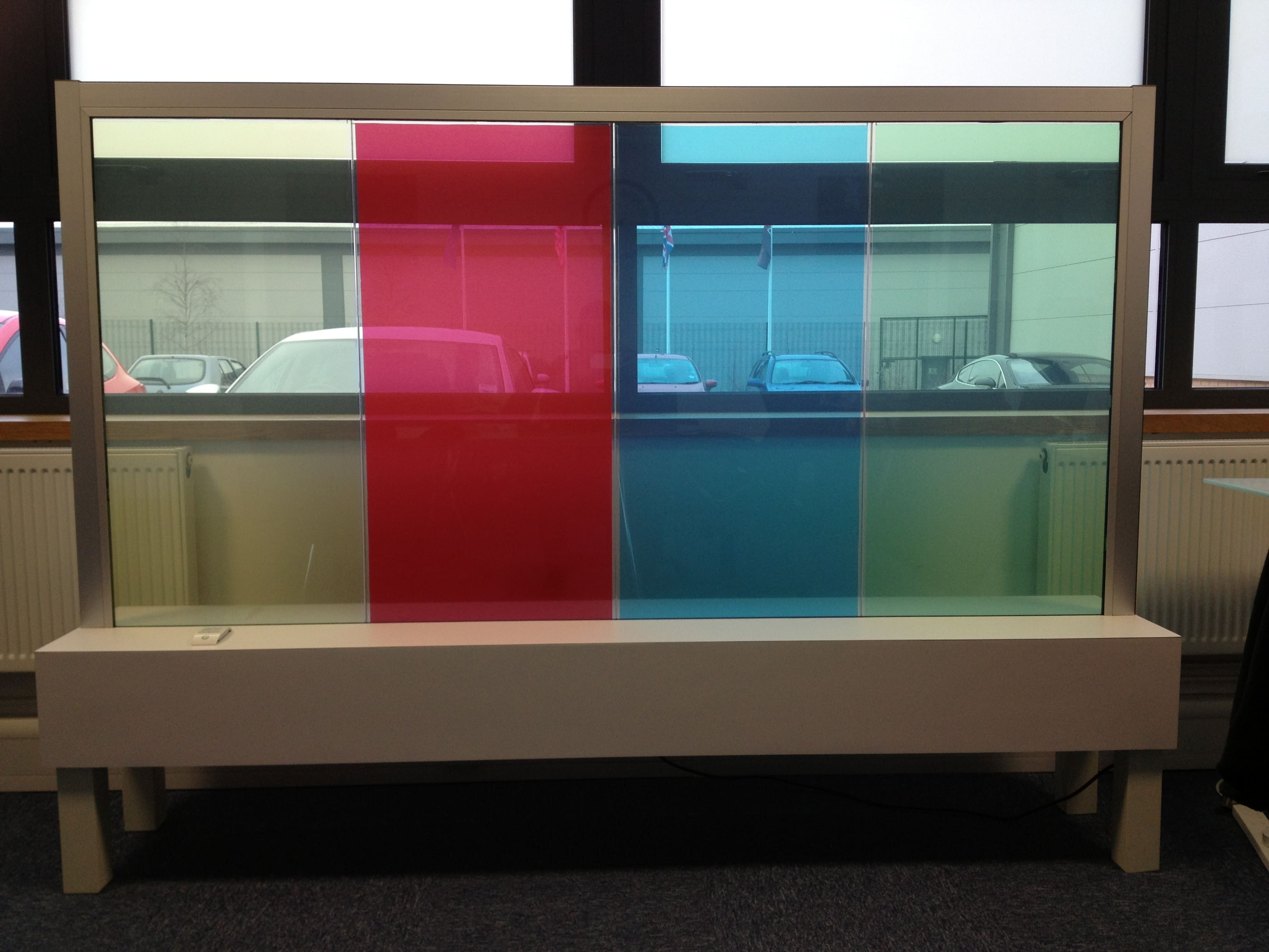 Switchable Smart Glass Coloured switched to on