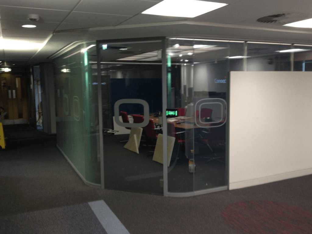 Curved Switchable Glass meeting room privacy on