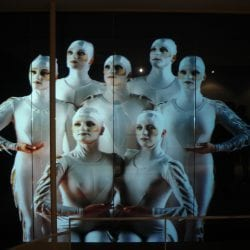 Switchable smart glass projection on windows close-up Cirque Du Soleil