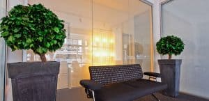 Glass partition in office