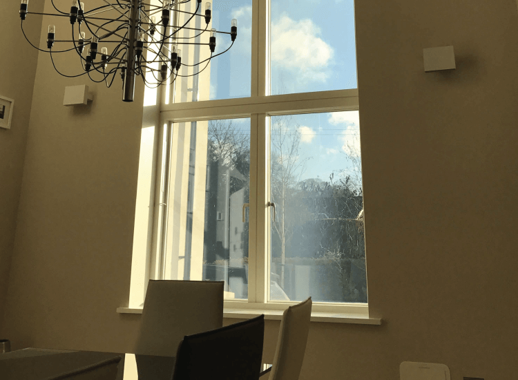 Switchable Smart Film in residential home switched to on