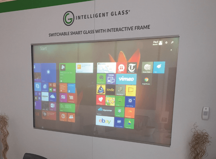 Interactive Switchable Smart Glass Screen Off being projected onto