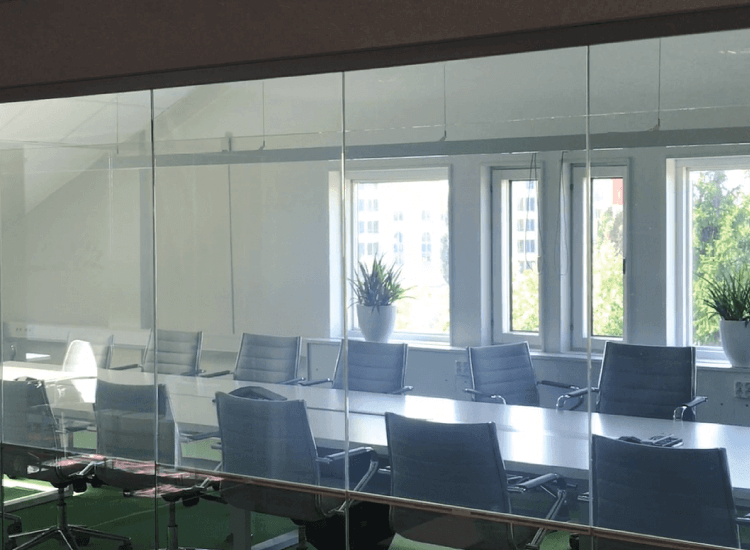 Meeting Room Privacy Smart Glass switched to on