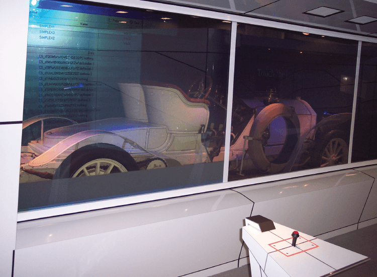 Mercedes World Rear Projection Switchable Smart Glass switched to clear