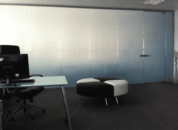 Corporate Meeting Room Privacy Switchable Smart Glass switched to off