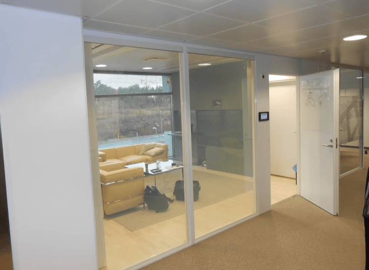 Office Meeting Room Smart Glass Partition switched to on