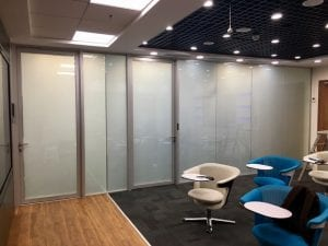 office partition smart glass off
