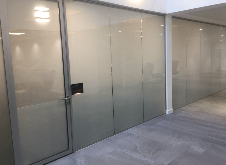 Office Privacy Switchable Smart Glass Door switched to off