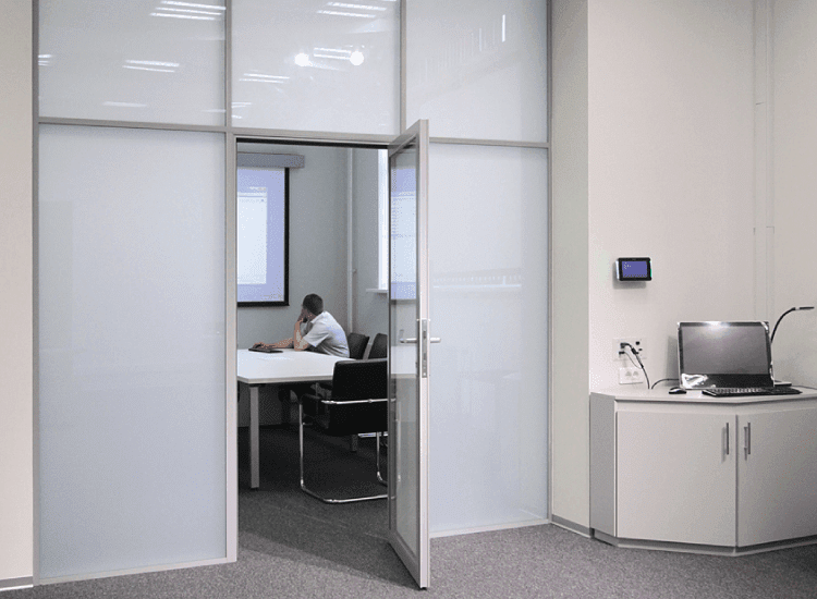 Office Privacy Door switched to off Switchable Smart Glass