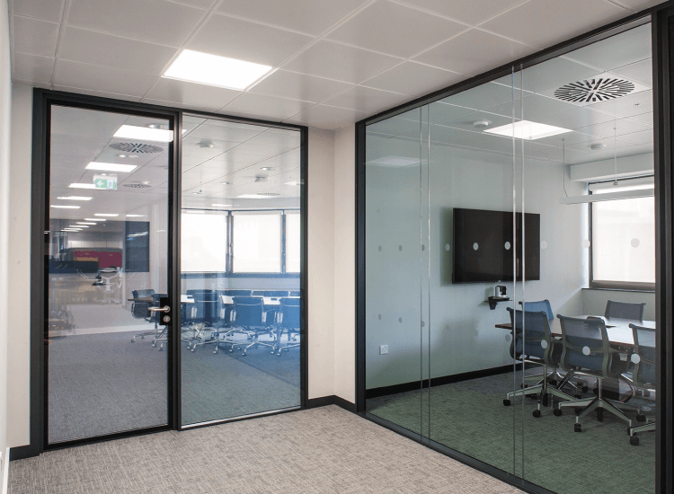 Office Smart Glass Privacy Doors switched to on