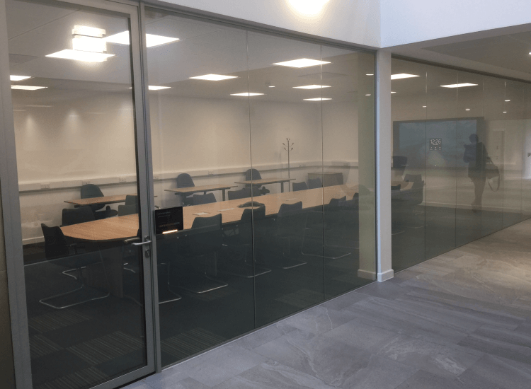Office Privacy Switchable Smart Glass Door switched to on