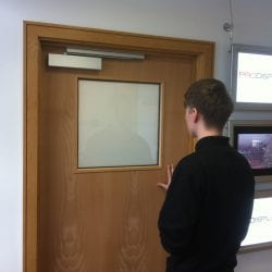 Switchable office door vision panel - switched off frosted