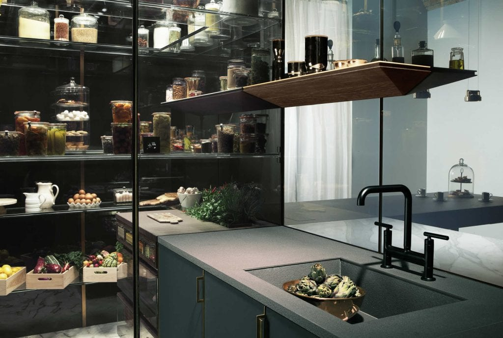 Switchable smart glass kitchen larder - switched on clear