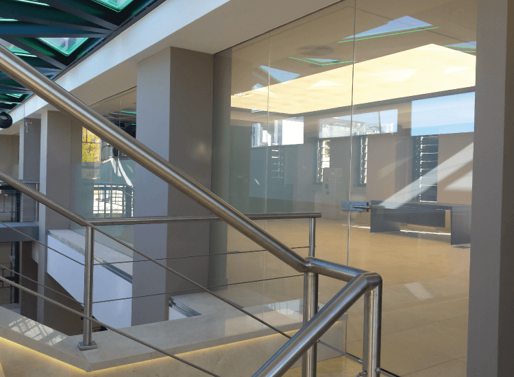 Corporate Office Privacy Switchable Smart Glass Door switched to off