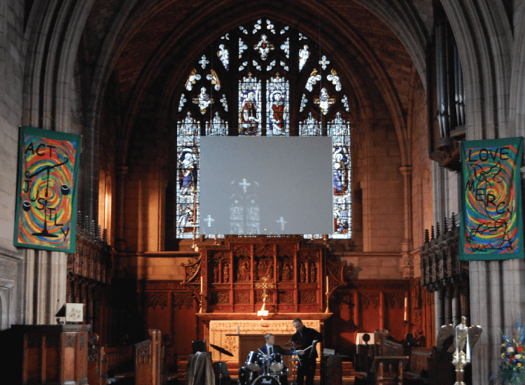 Rear Projection Smart Glass Screen in a church switched to off