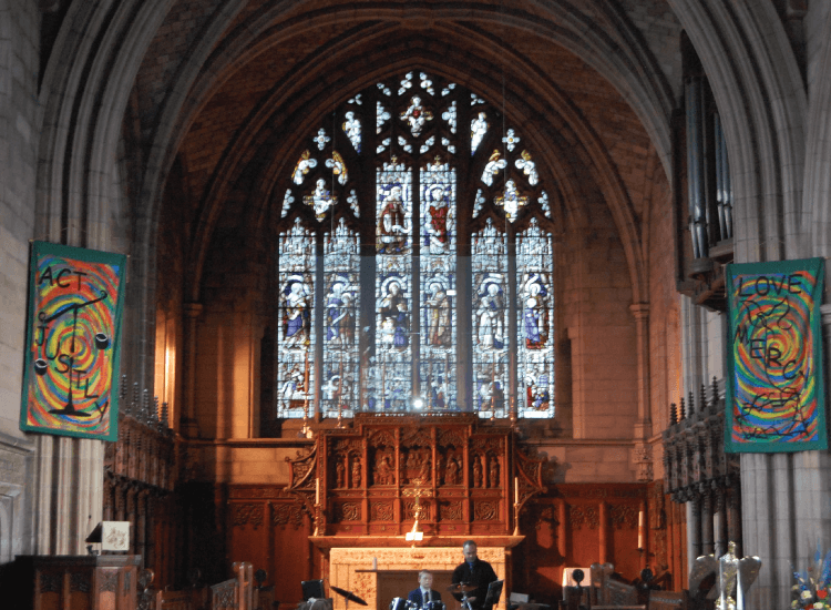 Rear Projection Smart Glass Screen in a church switched to on