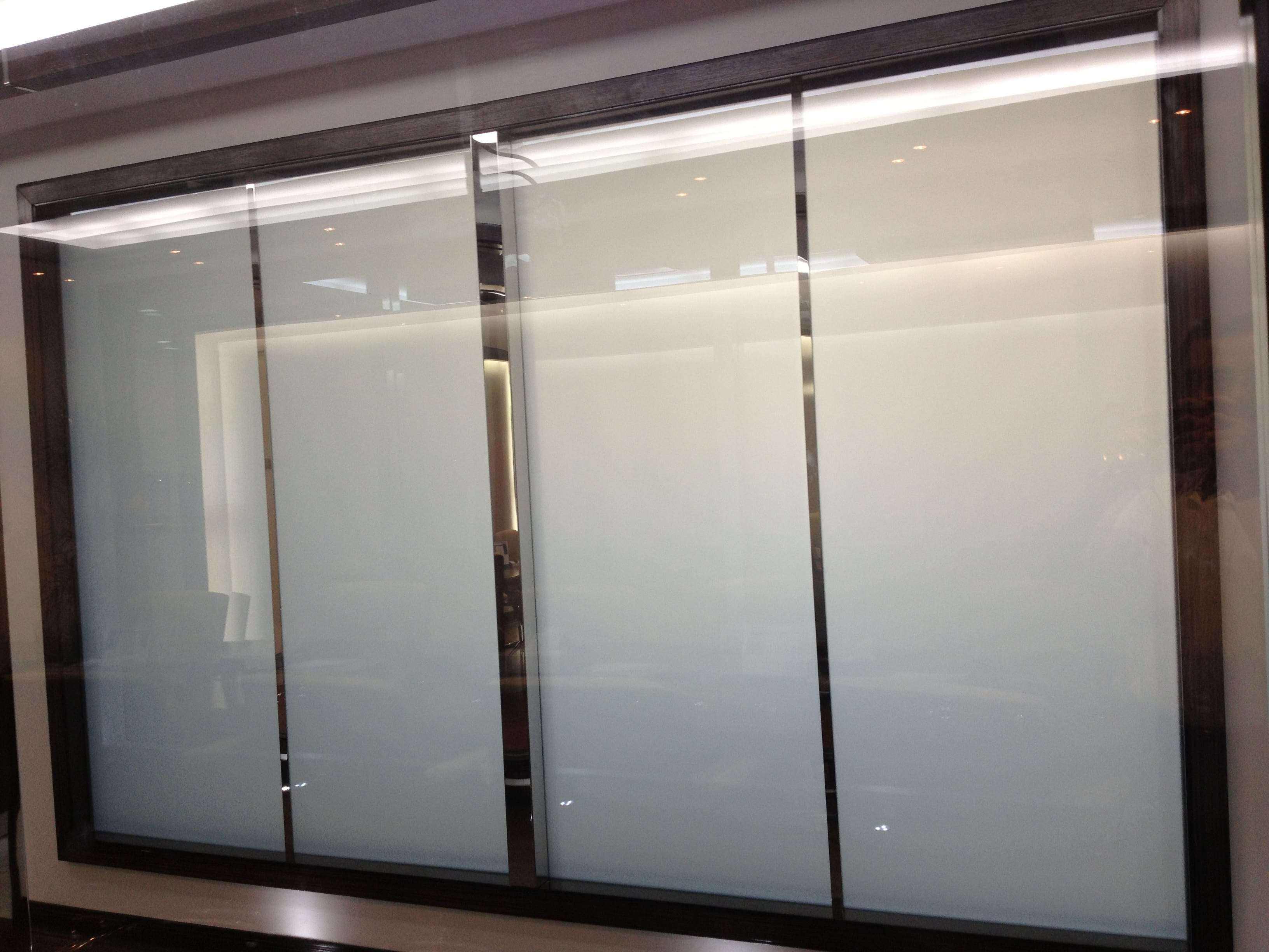 Smart Film for application on an office partition switched to off