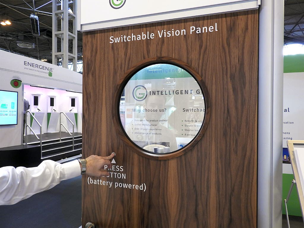 Circular shaped Smart Glass Door Panel Demonstration On