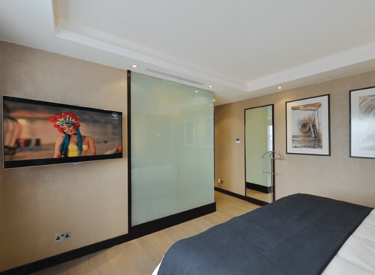Smart Glass Shower Screen Hospitality switched to off