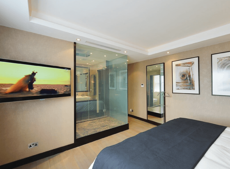 Smart Glass Shower Screen Hospitality switched to on