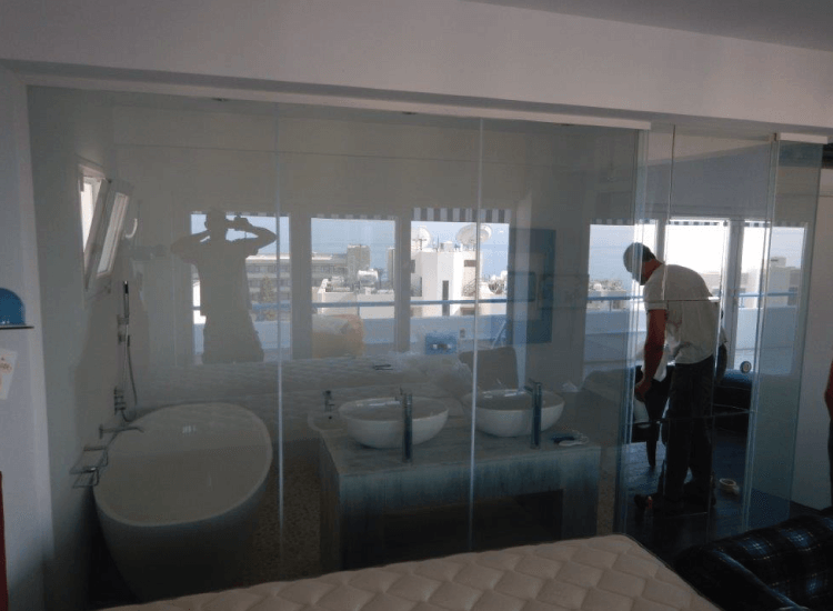 Switchable Smart Glass Bathroom privacy screen switched to on