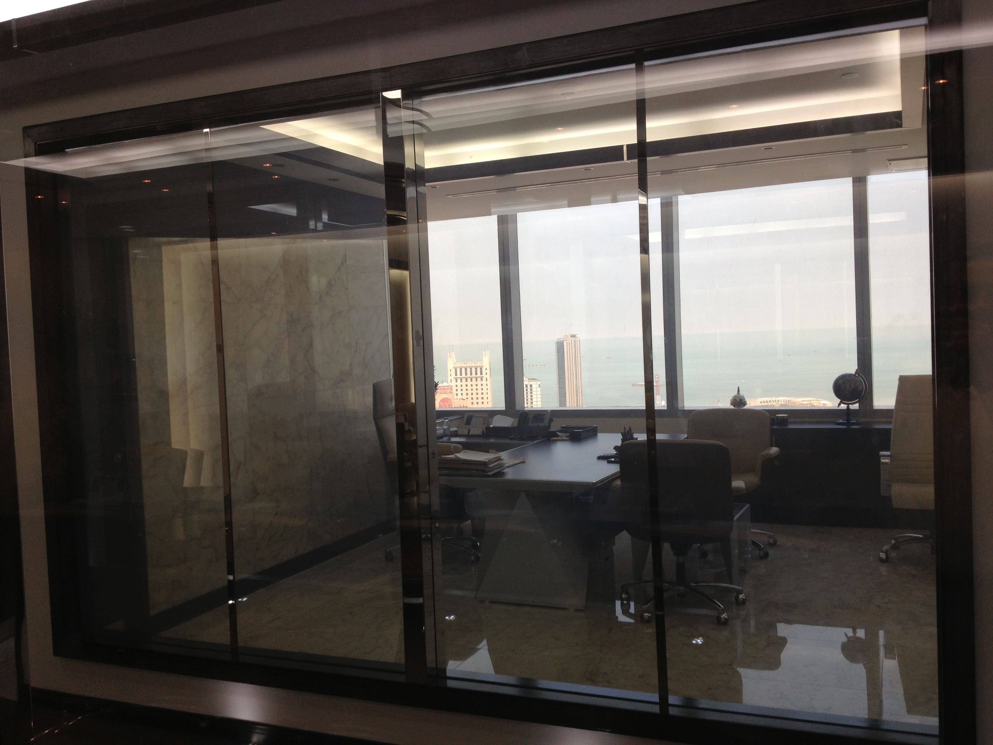 Smart Film for application on an office partition switched to on
