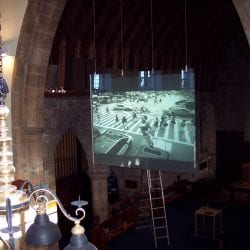 Switchable smart glass projection screen - off frosted and projected - place of worship church