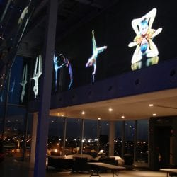 Switchable smart glass projection on windows Cirque Du Soleil