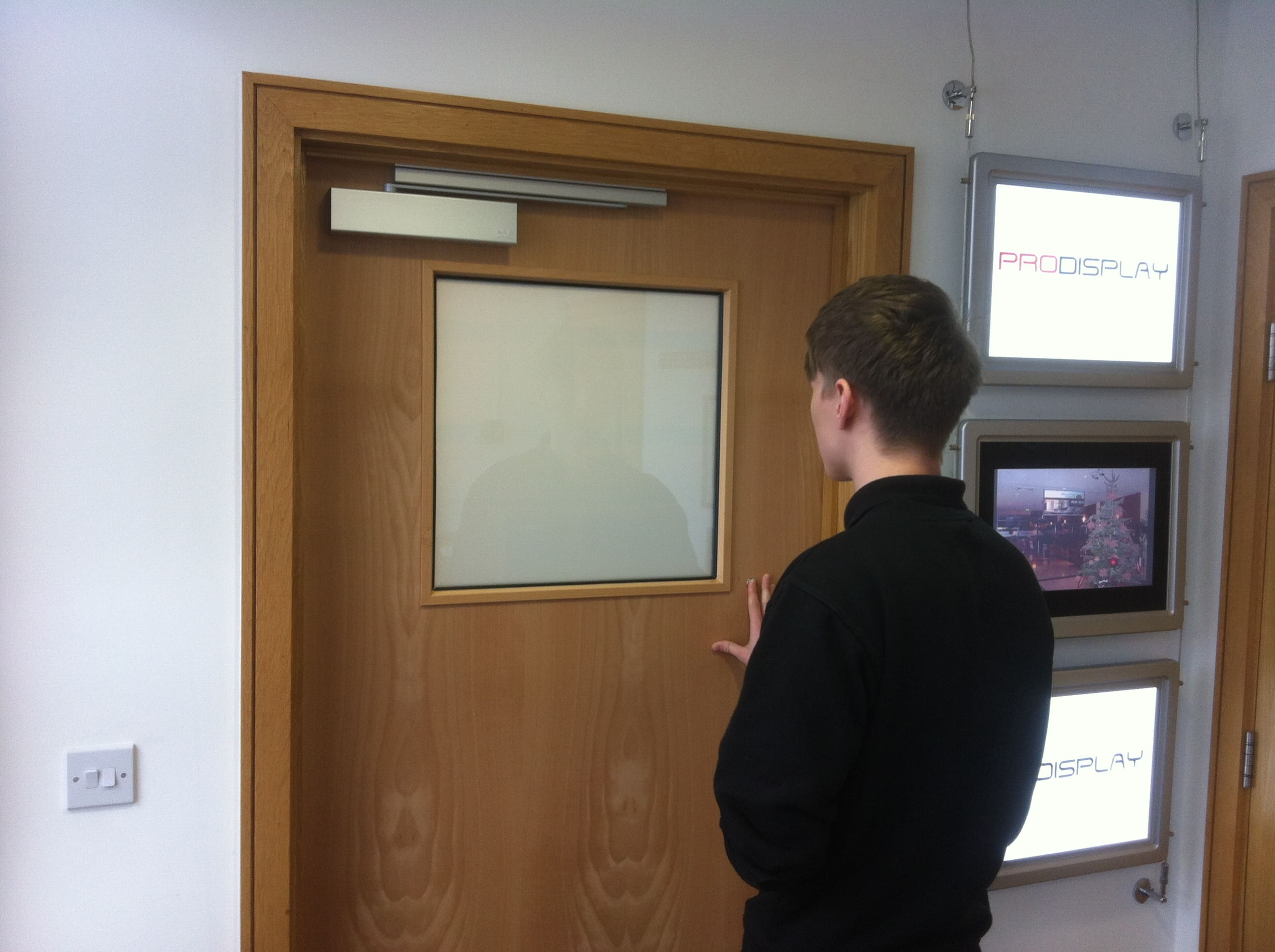 Square Switchable Smart Glass Door Vision Panel switched to off in office door